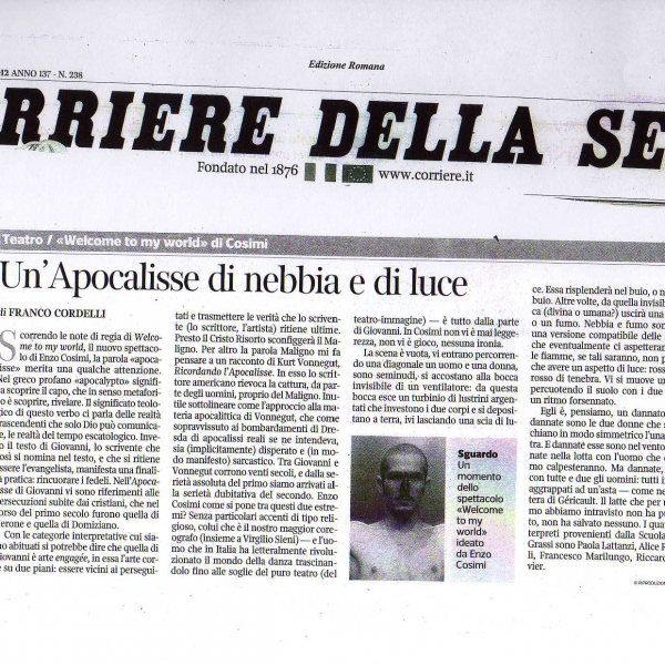 welcome to my world corriere della sera